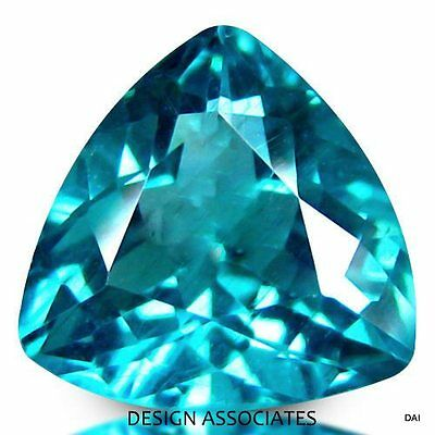 Apatite Natural 6  Mm Trillion Cut  Blue Outstanding Color
