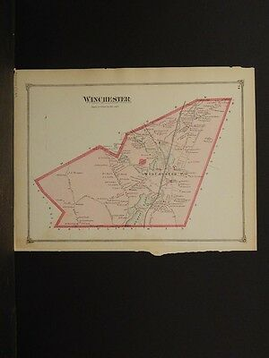 Massachusetts Middlesex County Map 1875 Town of Winchester !Z3#94