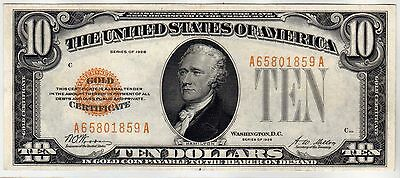 Fr.2400 $10 1928 GOLD CERTIFICATE ABOUT UNCIRCULATED