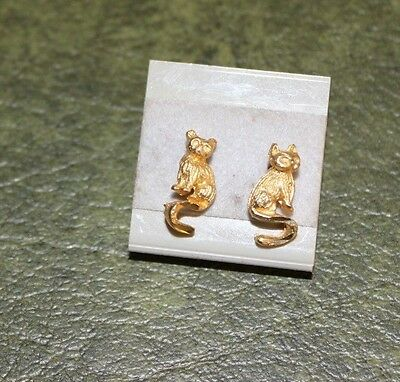 Vintage Retro 1980's Cat Earrings Very Small
