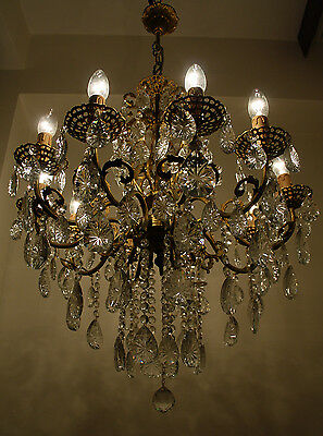 Antique 9 arms 9 lights Brass & Crystals Bohemia Chandelier from 1950's