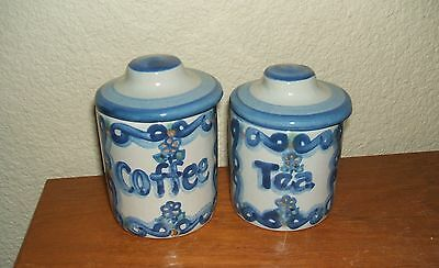 Cute Ma Hadley Pottery Country Scene Blue Childs Mini Canisters Coffee & Tea