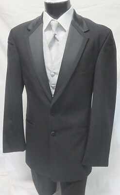 40R Perry Ellis Modern Tropical Wool Black Vail 2 Button Tuxedo Suit Package