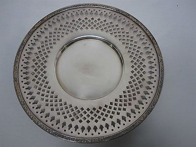 "VINTAGE ENGLISH SILVERPLATE 10"" PIERCED FOOTED PLATE with ""DS"" HALLMARKS"