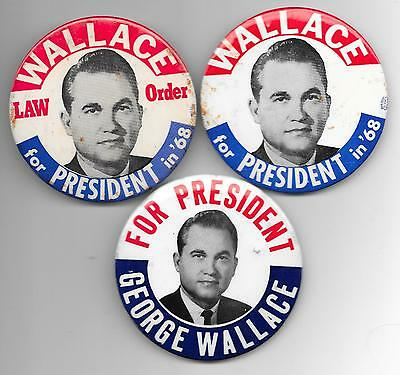 """3 Different 1968 3 1/2"""" George Wallace Picture Pin Backs"""