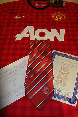 Official Manchester United Hand Signed Shirt Inc Tie Coa 21 Autographs & Fergie
