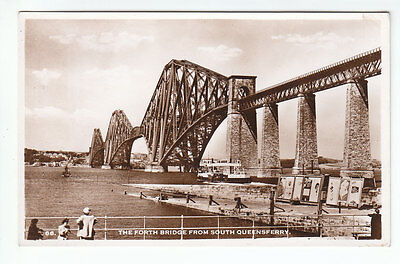 The Forth Bridge And Ferry From South Queensferry Edinburgh Real Photograph