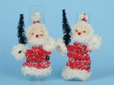 UNUSUAL Vintage Christmas Sparkly Chenille Pipe Cleaner Santas