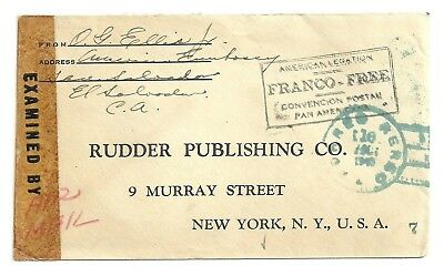 1943 El Salvador American Legation Free Frank Airmail Cover Wwii Censored To Usa