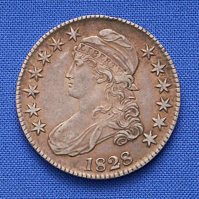 1828 50¢ Capped Bust Half Dollar. Large Letters. Square 2. XF Grade.