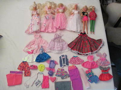 Lot Of 6 Barbie Dolls & Lots Of Clothing And Accessories Wonderful Condition