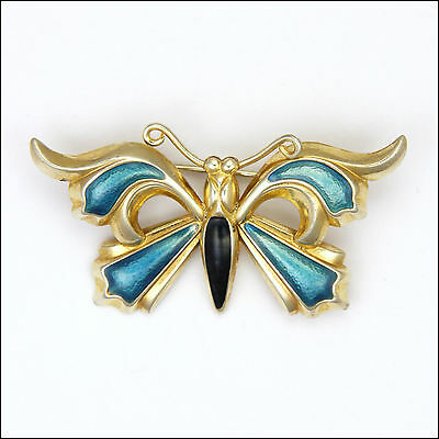 Gold Washed Silver Enamel Butterfly Brooch - Chinese?