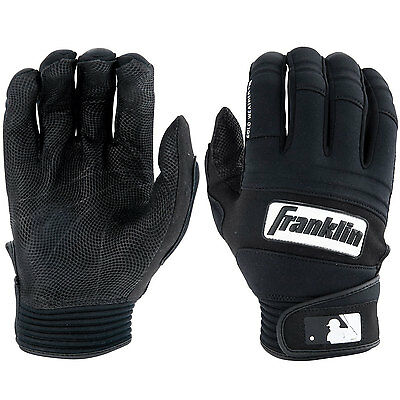 Franklin Cold Weather Pro Adult Baseball Batting Gloves - Black/Black - Small