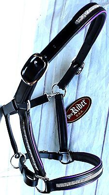 Horse Riding Leather English Black Halter with Bling 927MT10P