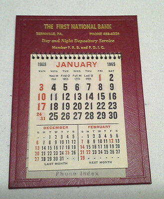 Nice Vintage 1965 First National Bank of Pa. Calendar