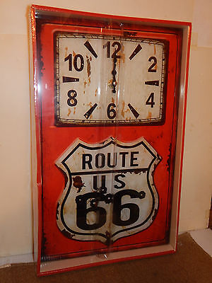 Highway 66 / Route 66 Glass Wall Clock Weathered Look! New in the Box