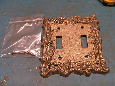 Vintage 1950's Replica of Antique Brass 2 Gang Light Switch Cover Plate