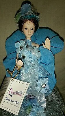"""Victorian Tassel Stick  Doll Blue Floral Victorian Gown Limited Edition 15"""" Tall"""