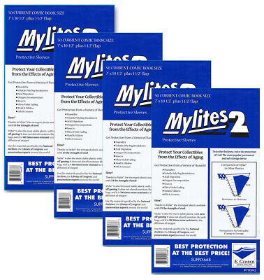 200 - E. GERBER MYLITES 2 CURRENT / MODERN 2-Mil Mylar Comic Bags Sleeves 700M2