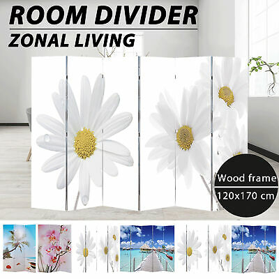 Folding 3/4/5/6 Panels Room Divider Screen Solid Wood Print Beach/Flower Privacy
