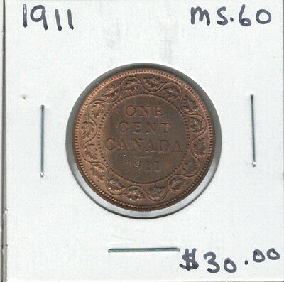 Canada 1911 Large 1 Cent MS60 Red & Brown