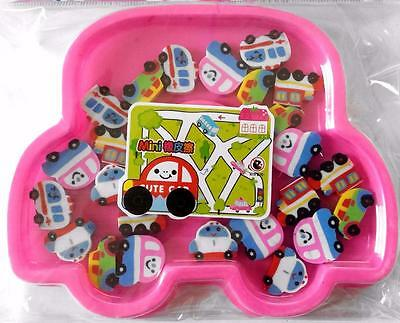 Bulk Pack of 24 Mini Vehicle Rubber Erasers Pink Car Box Novelty Party Favor NEW