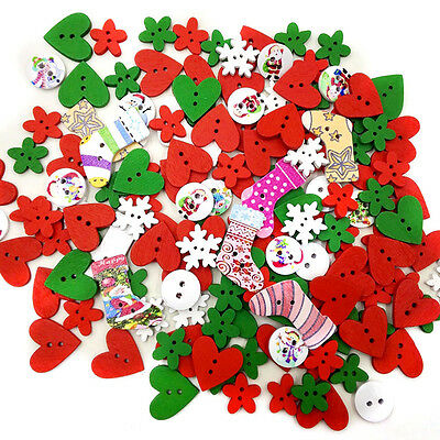 100PCS 2 Holes Wood Buttons Sewing Scrapbooking Mixed Colors Christmas stocking