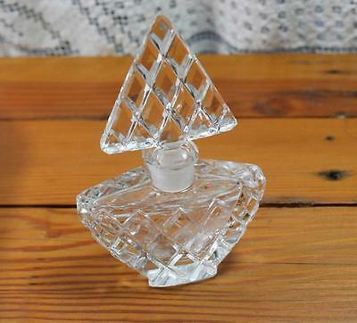 Vintage Cut Glass Perfume Bottle with Stopper - Christmas Tree Diamond Cut