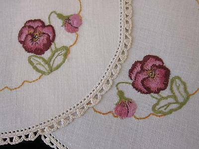 Pair Vintage Doilies Pansy & Bud Hand Embroidered Linen
