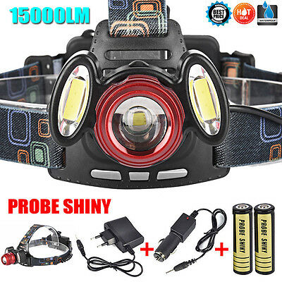 15000LM 3x XML T6 Rechargeable Headlamp Headlight Torch Lamp +18650 +Charger Set