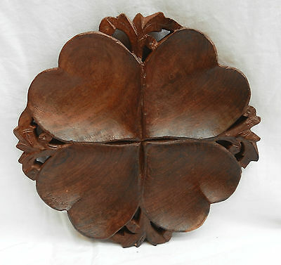 Hand Carved Indian Wooden Four Heart Hors d'Ouevres / Nibbles Dish - BNWT
