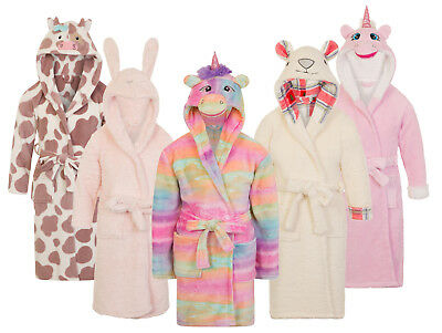 Girls Novelty 3D Dressing Gown Soft Fleece Bathrobe Housecoat Xmas Gift Size