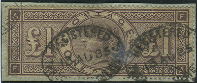 SG 185  £1 Brown-Lilac  (F-A).  Good used on piece (unobtrusive horizontal filin