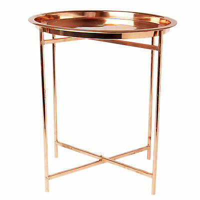 Metal Copper Folding Coffee / Side Table with Round Tray - Modern Retro Style