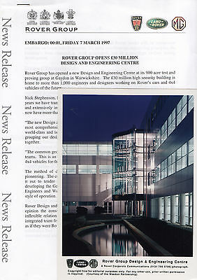 Rover New Design and Engineering Centre, Gaydon Press Release/Photograph - 1997