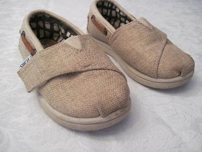 Toms Tiny Toddler Canvas Slip On Shoes Boat Or Deck Shoes  Size T6 Bimini