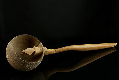 "An Unusual Vintage Indonesian ""Irus"" Ladle - Coconut Shell Bowl."
