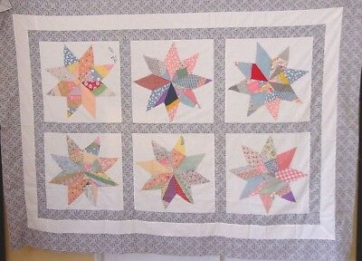 Large Crazy Star Antique  Quilt Top  C 1934 Dated Many More In Our Store