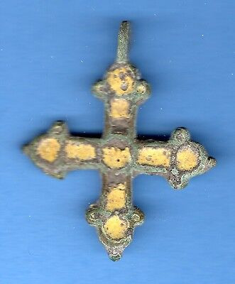 Russia Kiev type Bronze Enamel Cross Pendant Viking time 10-12th ca 1100 AD 9