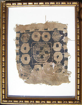 Ancient EGYPTIAN 5th to 6th century COPTIC linen TEXTILE 14 1/4 x 11 5/8 framed