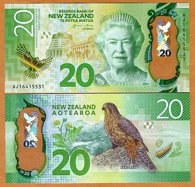 New Zealand, $20, 2016, Polymer, P-New, Redesigned, QEII UNC