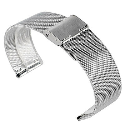 New Silver Stainless Steel Mesh 20/22mm Wrist Watch Band Strap Mens Hook Buckle