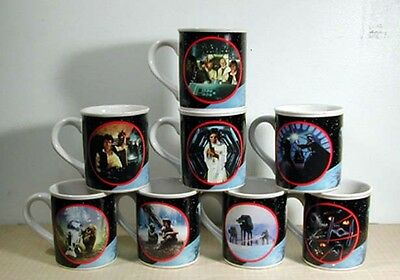 Vintage Star Wars Ceramic Coffee Cup Set of 8 Cups in Original Box- Mint