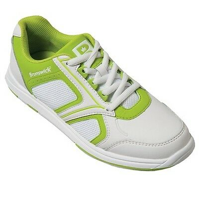 New Brunswick Women's Spark White/Lime Bowling Shoes Size 7.5 Universal Soles