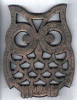 Copper Plated Cast Iron Trivet in Shape of an Owl  Old Dutch Design Wall Hanging