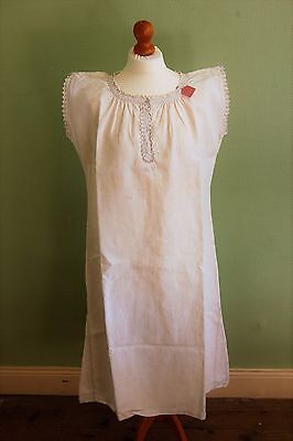 """LOT 2 Vintage FRENCH Pure Floppy LINEN Nightdresses White Size L XL 42"""" 44"""" Bust"""