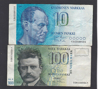 FINLAND - 110 MARKKAA - 2 Banknotes 1986 & 1991issues, circulated - Pack#2418