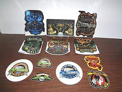 Group Lot Of 12 Sturgis Rally Vintage Dated Decals / Peel Off Stickers Free Ship