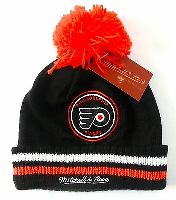 73fcf320626 NHL PHILADELPHIA FLYERS BEANIE   HAT Mitchell   Ness Cuffed Pom Knit Black   NEW
