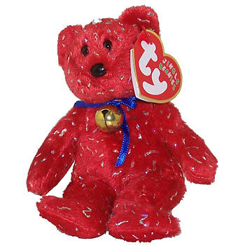 TY Jingle Beanie Baby - DECADE the Bear (Red) (5.5 inch) - MWMTs Holiday